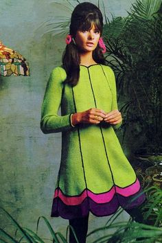1966 - High-Bumped Hair with Pigtails & Vintage Lamp-Shade Style Pink, Green, & Purple Dress