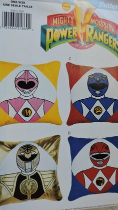 Mighty Morphin Power Rangers Pillows Butterick 4063 Pattern & Transfers by SeesallysewPatterns on Etsy