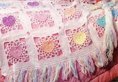 Crochet Hearts and Granny Squares Blanket Pattern