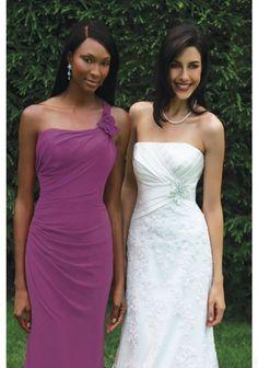 Gorgeous One Shoulder Chiffon Floor Length Party Evening Dresses Bridesmaid Dresses