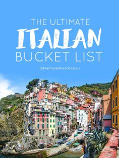 The Ultimate Italian Bucket List There is so much to see and do in Italy; with sprawling vineyards, gorgeous lakes, towering mountains, and adorable villages, it& almost impossib. Italy Vacation, Vacation Destinations, Dream Vacations, Vacation Spots, Trip To Italy, Honeymoon In Italy, Italy Italy, Toscana Italy, Vacation Packages