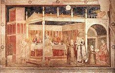 Giotto - parete sinistra - Storie di San Giovanni Battista - 3 Banchetto di Erode con Salomè che presenta la testa del Battista a Erodiade - pittura a secco - 1318-1322 circa - Cappella Peruzzi - Basilica di Santa Croce - Firenze