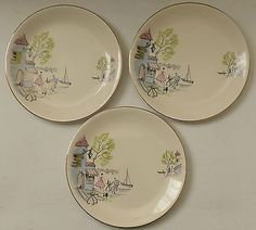 """3 x Alfred Meakin Pottery - Down by the Seine pattern 1950s 8"""" plates in Pottery, Porcelain & Glass, Pottery, Alfred Meakin 