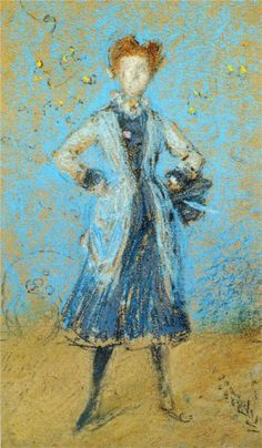 James McNeill Whistler - The Blue Girl (1872-1874) - face indistinguishable, background same colour as subject.