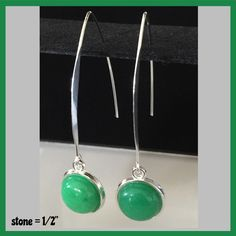 """Jade 12mm Gemstone Cabochon V-Hook Earrings Jade stone cabochons measure 1/2"""" V-Hook are silver plated and measure approx 2"""" in front and back. They hang approx 2.5"""" from your ear. Very pretty in pers"""