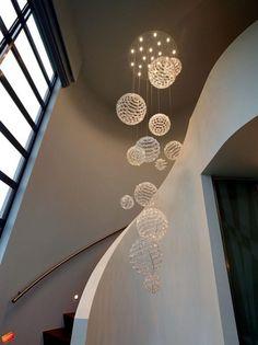 This is very nice. Modern Hanging Lights, Modern Chandelier, Chandelier Lighting, Stairway Lighting, Entryway Lighting, Lamp Design, Door Design, Foyer Flooring, Drop Lights