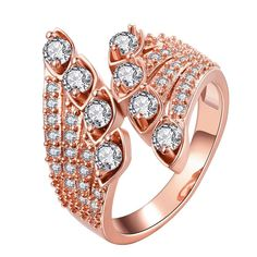 Plated Quad-Jewels Open Ended Ring, Women's