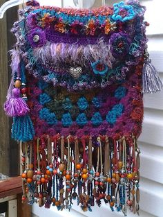 Colorful Crochet Handbag...Bohemian...Fringed, Beaded..Hippie..Gypsy..Granny Square..Tassel Bag..Crossbody Purse..Festival Bag...Fully Lined