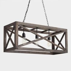Rectangular Gray Wood 3 Light Valencia Chandelier by World Market Rectangular Gray French Country Chandelier, Modern French Country, French Country Bedrooms, French Country Farmhouse, French Country Decorating, Country Kitchen, Farmhouse Style, Rustic Style, Farmhouse Decor