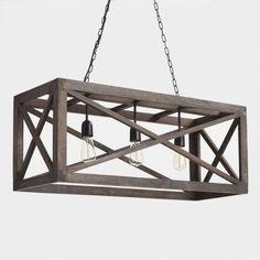 Rectangular Gray Wood 3 Light Valencia Chandelier - v2
