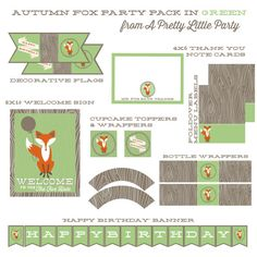 Fox Party Pack in GREEN  Fox Birthday Party  by aprettylittleparty, $15.99