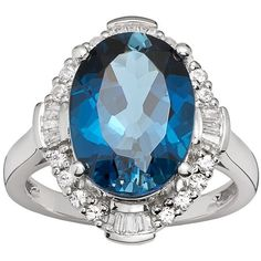 Sterling Silver London Blue Topaz and Lab-Created White Sapphire... ($131) ❤ liked on Polyvore featuring jewelry, rings, blue, round ring, london blue topaz jewelry, blue jewelry, london blue topaz ring and blue ring