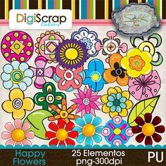 25 hermosas coloridas flores en formato png-300dpi