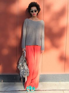 """From Vogue. UK  February, 2012  Solange Knowles  Musician, DJ and model Solange Knowles shares her fashion and style choices, every day.  15 February  """"Today I'm wearing a Zara Sweater, Robert Rodriguez pants and Valentino shoes with Gucci bag and Illesteva shades.""""  Solange Knowles"""
