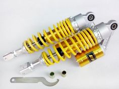 """78.09$  Watch here - http://alicqk.worldwells.pw/go.php?t=32778981754 - """"13.5"""""""" 340MM YELLOW Forked mouth RFY air gas Shock Absorber Fit clevis yamaha zuma 50cc 75cc 125cc 300cc Motorcycle Universal"""""""