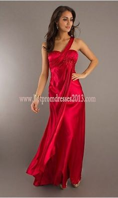 Fashion One Shoulder Red Long Prom Dress 2013 for Cheap