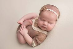 Newborn girl lace romper (Abigail) - photography prop - cream, tan, onesie, lace outfit, outfit by adorableprops on Etsy