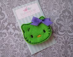 NO SLIP Hello There Zombie Kitty Felt Hair Clip by bubbipop, $3.49