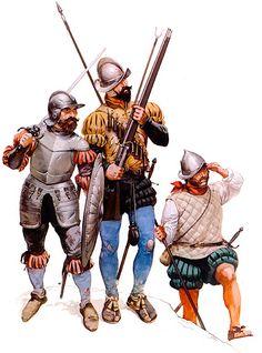 La Pintura y la Guerra • Swordsman, c. 1520 - 50 • Arquebusier , c. 1520 - 40 • Pikeman, c. 1540 Angus McBride
