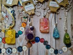 Resin and buttons assorted necklace shapes
