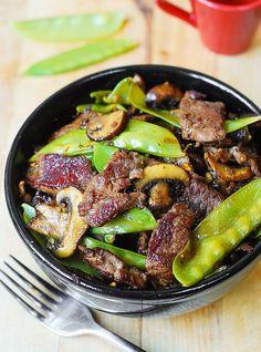 Asian Beef with Mushrooms & Snow Peas http://www.recipes-fitness.com/asian-beef-with-mushrooms-snow-peas/