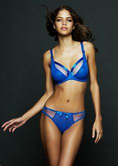 Miss Mandalay Paris Ultra Blue Ruche Brief Lingerie Paris e6bdc7319