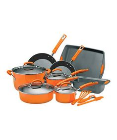 Look what I found on #zulily! Rachael Ray Orange 15-Piece Cookware Set by Rachael Ray #zulilyfinds