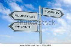 Picture of Road sign to education, happy life and poverty and poverty stock photo, images and stock photography. Purple Hibiscus, Road Pictures, Raising Capital, Happy Life, Stock Photos, Education, Signs, Words, Health