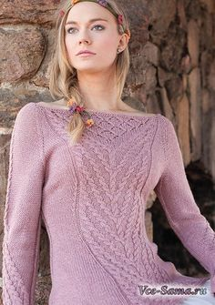 Вязание пуловера Рапунцель с вырезом лодочкой