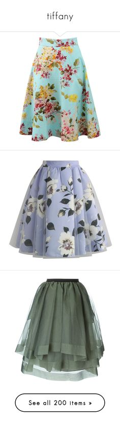 """""""tiffany"""" by shazellove ❤ liked on Polyvore featuring skirts, bottoms, floral skater skirt, knee length skater skirt, blue circle skirt, knee length skirts, blue a line skirt, floral, blue and violet skirt"""
