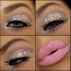 Sparkley eyes! And lips pink. Perfecto