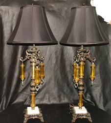 Pair of Brass & Gold Drop Lamps