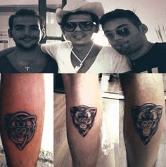 Ignazio Boschetto and his 2 best friends in Marsala: Ivan Mattarella and Gabriele Franco They now have tats matching Ignazio's. The design is a combo of two Irish/Celtic symbols .. The Trinity knot and Claddaugh ring which symbolizes Love, loyalty and friendship!❤️ thanks to Lavina Kueker/IL VOLO Virtual Tour Bus ❤️