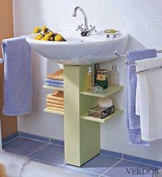 Under a bathroom sink, even a pedestal sink unit, you can add extra storage that. - Under a bathroom sink, even a pedestal sink unit, you can add extra storage that won& take up - Bathroom Interior, Cheap Home Decor, Pedestal Sink, Bathroom Storage, Space Saving Bathroom, Home Diy, Small Bathroom Decor, Bathroom Decor, Storage