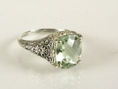 Vintage Green Amethyst Ring - Size 9
