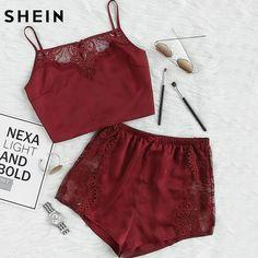 c3ac5c2664 Womens 2 Pc Sexy Top & Shorts Set Burgundy Lace Insert Crop Cami Top &  Shorts Pajama Set