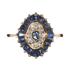 Vintage Sapphire and Diamond  Cocktail Ring by RaritiesAntiques