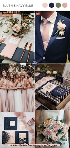 classic blush pink and navy blue chic vintage wedding colors classic blush pink and navy blue chic vintage wedding colors Elegant Wedding Colors, Blush Wedding Colors, Navy Blue Wedding Theme, Navy Blush Weddings, Blue And Blush Wedding, Vintage Wedding Colors, Color Themes For Wedding, Blush Wedding Palette, Wedding Ideas