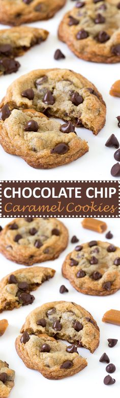 The Most Amazing Caramel Stuffed Chocolate Chip Cookies! Super soft, chewy and loaded with melted chocolate and caramel. | chefsavvy.com #recipe #cookies #caramel #chocolate
