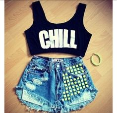 Chill crop top and high waisted shorts