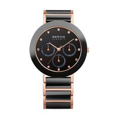 Bering Time - Ladies Rose Gold & Black Ceramic Link Multifunction... ($299) ❤ liked on Polyvore featuring jewelry, watches, pink gold jewelry, red gold watches, black face watches, rose gold jewelry and rose gold wrist watch