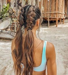 York Hair Tie You'll love this fun hair piece! The York Hair Tie featu. - York Hair Tie You'll love this fun hair piece! The York Hair Tie features a classic gri - Long Curly Hair, Curly Hair Styles, Hair Braiding Styles, Braids Long Hair, Hair Styles Easy, Wavy Hair With Braid, Very Long Hair, Fun Braids, Loose Braids