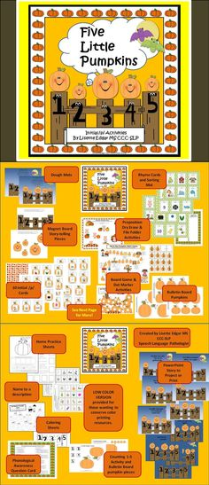 $ Pumpkin Fun for Halloween or Thanksgiving! 17 activities Improve initial /p/ articulation, rhyme, prepositions, story re-telling, phonological awareness and language skills. 42 pages of activities- including pumpkin patch game and a PowerPoint story to project. Perfect for speech therapy, literacy centers, RTI.