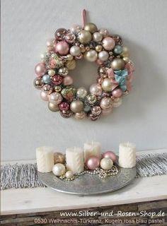 Traumhafte Winterpastells Türkranz Weihnachten Kugeln pastell rosa groß by oldrose