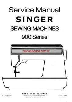 Singer 900 Service Manual.  173 page service and repair manual for your Singer sewing machine.  Covers: * Machine Timing * Buttonhole cam adjustment * Timing belt tension * Motor belt tension * Hook and feed timing * Electrical * Lubrication * Much much more!