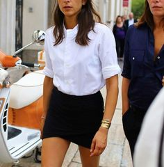 black skirt white shirt