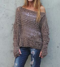 Brown sweater loose knit Grunge oversized thumb hole by ileaiye