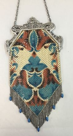 ANTIQUE MANDALIAN Art Deco Turquoise Brown Silver MESH PURSE with Beads NICE! #EveningBag