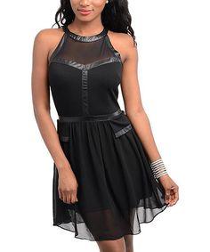 Black  Chiffon Skater Dress