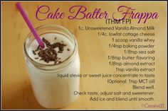 Sugar-free / Gluten-free Cake Batter Frappa. (Dairy-free options given) THM-FP